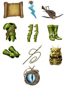 Artwork für Rüstungen, Items und Waffen